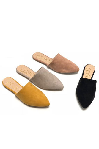 Ellie Pointy Toe Suede Slip On Sliding Mule