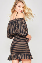 Joan Striped Off-Shoulder Mini Dress with Smocked Skirt - Black + Taupe