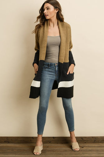 Hot Toddy Colorblock Pocket Cardigan - Taupe