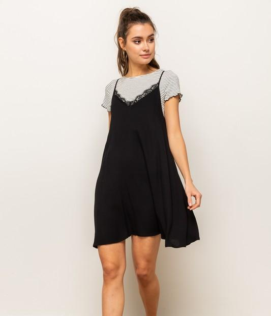 Quinn Stripe Tee with Lace Slip Dress
