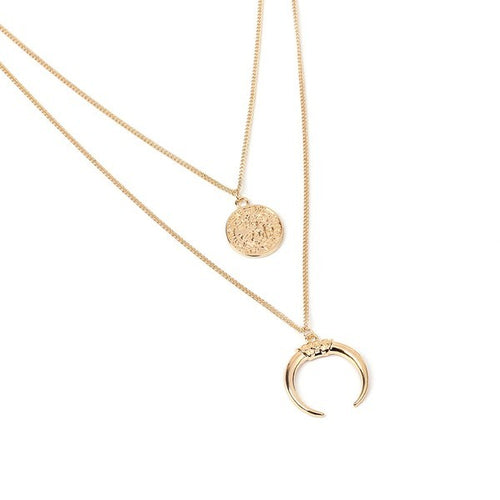 Jasmine Multi-Layered Moon Wafer Pendant Necklace - Gold