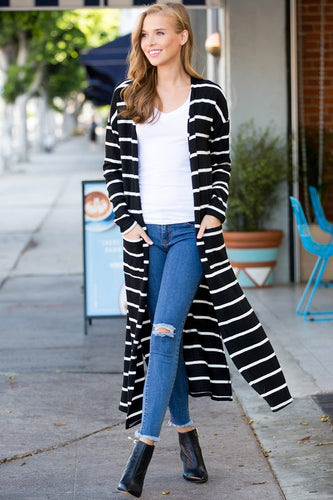 Abby Black White Thin Stripe Sweater Cardigan Duster