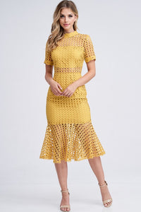 Kennedy Crochet Mermaid Short Sleeve Mock Neck Midi Dress - Mustard