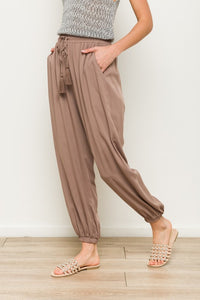 Beryl Drawstring Waist Cinched Elastic Ankle Woven Pant