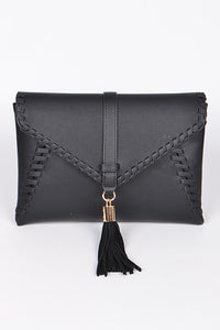 Aztec Style Clutch With Tassel Detail + Gold Chain Shoulder Strap - Black