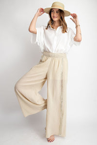 Crown Crochet Tape Wide Leg Pants