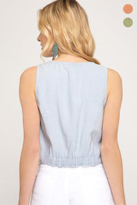 Abalone Sleeveless Button Down Woven Crop Top