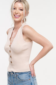 Sapphire Deep V Button Down Lightweight Sweater Tank - Warm Ivory