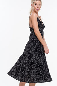 Marble Midi Black + White Polka Dot Deep V Cami Dress