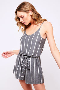 Bonnie Vertical Stripe Knit Spaghetti Strap Tie Waist Romper - Heather Grey + White