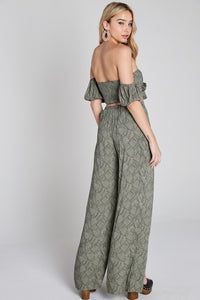 Lapis Leaf Print Strapless Ribbon Tie Front Crop Top + Slit Pants Set