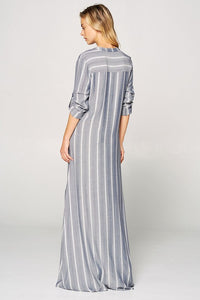 Sophia Mandarin Collar Long Sleeve Maxi Dress - Navy + White