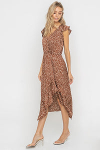 Willow Ruffled Wrap Top Sleeveless Midi Dress - Brown + White