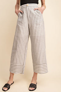 Mara Woven High Waisted Striped Crop Pant - Ivory + Black