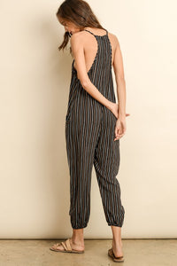 Juniper Striped Deep V Racerback Sleeveless Jumpsuit - Black + Camel