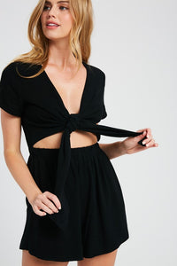 Mia Short Sleeve Deep V Front Tie Open Romper - Black