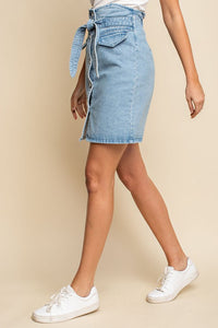Nebraska Denim High Waisted Button Down Mini Skirt - Light Blue