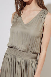 Paloma Sleeveless Dress Smocked Waist Solid Maxi Dress - Lt Moss