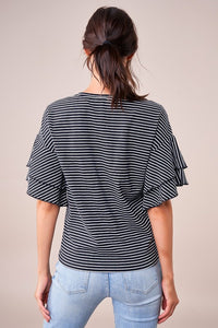Boston Striped Ruffle Top - Black + White