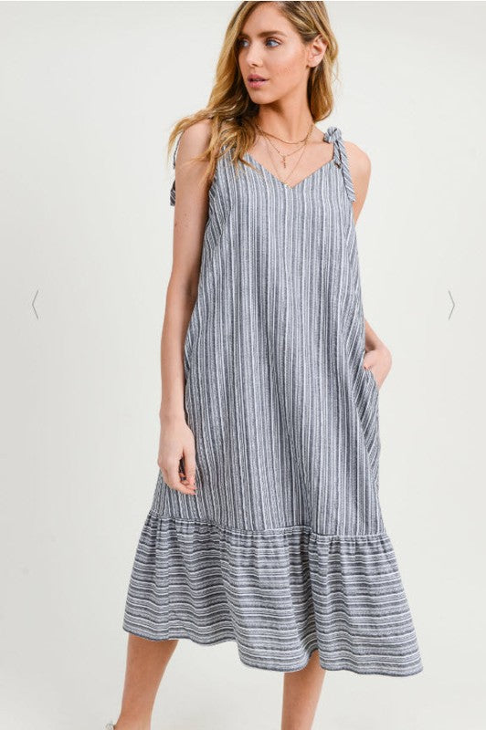 Lula Weaved Sleeveless Stripe Ruffle Hem Midi Dress w Eyelet Detail - Grey + White