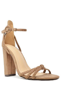 Tennessee Braided Suede Ankle Strap High Heel Sandal - Taupe