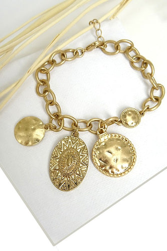 Hawley Chunky Chain Link Charm Bracelet - Gold