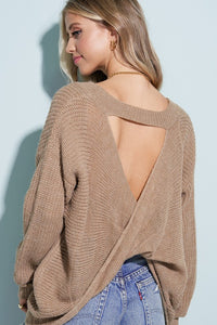 Watson Twist Back Keyhole Sweater - Taupe