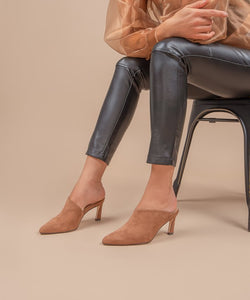 Ginn Asymmetric Kitten Heel Mule - Brown