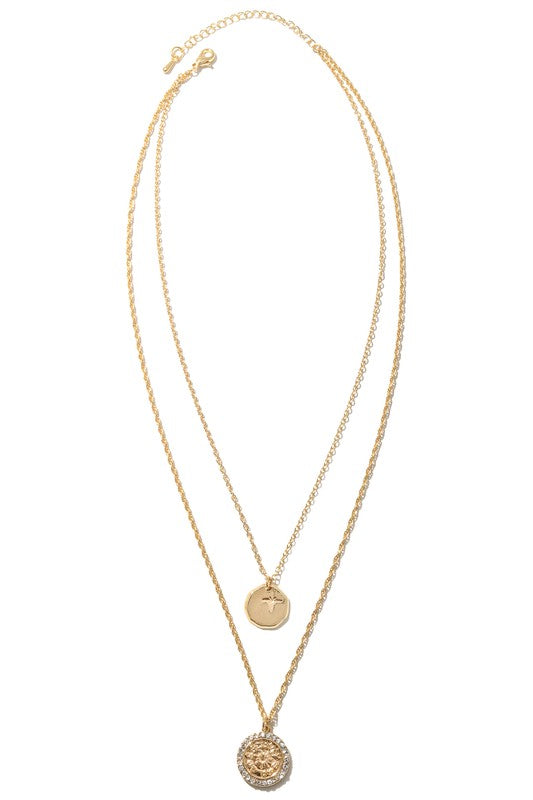 Harlym Double Coin Charms Chain Necklace - Gold