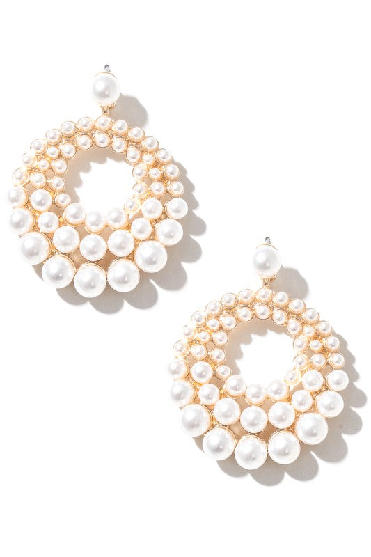 Camille Faux Pearl Studs Hoop Drop Earrings - Gold