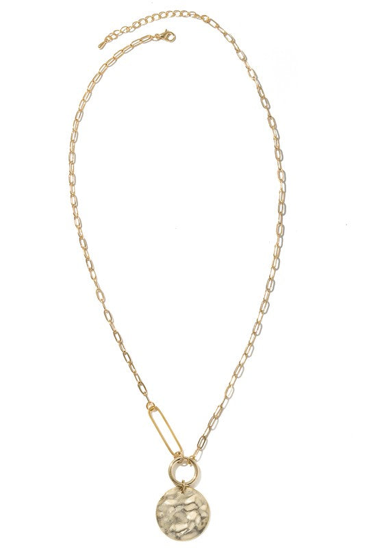 Smith Dented Metallic Coin Charm Necklace - Gold
