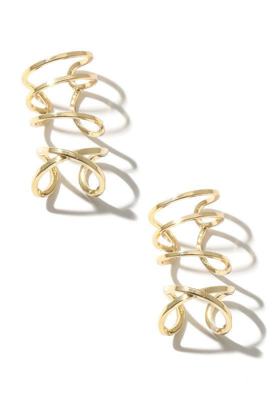 Cora Metallic Ear Cuffs Set - Gold