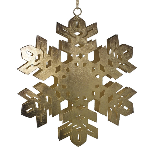 Let It Snow Metal Snowflake Ornament - 5.75