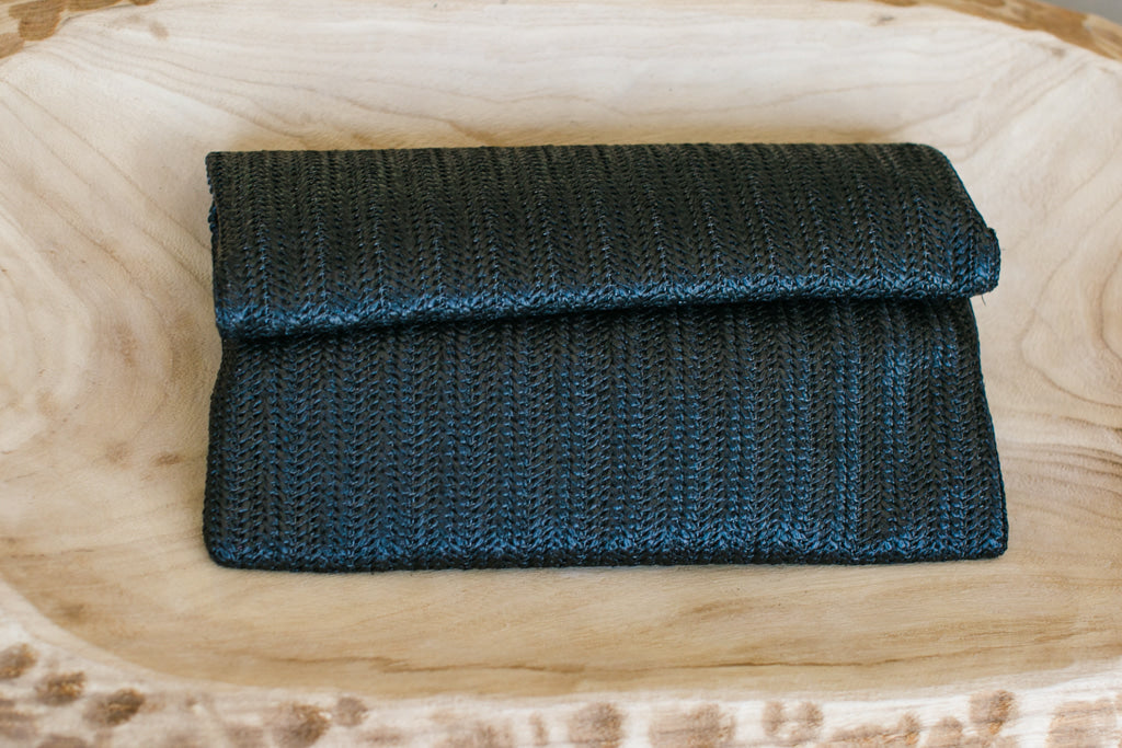 Woven Envelope Clutch - Black
