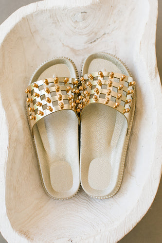Brassy Metallic Gold Casual Slip On Sandal w Gold Studs