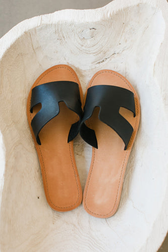Daily Leather Sandal w Side Cutouts