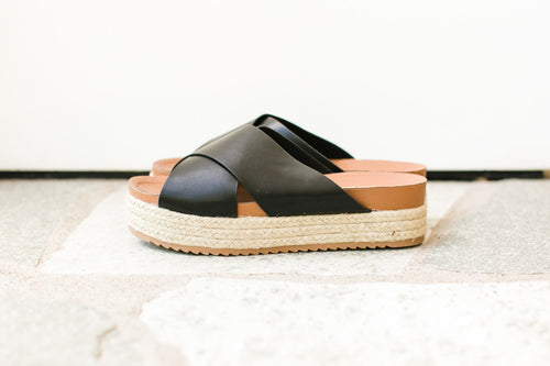 Black Criss-Cross Sandal with Rope Sole