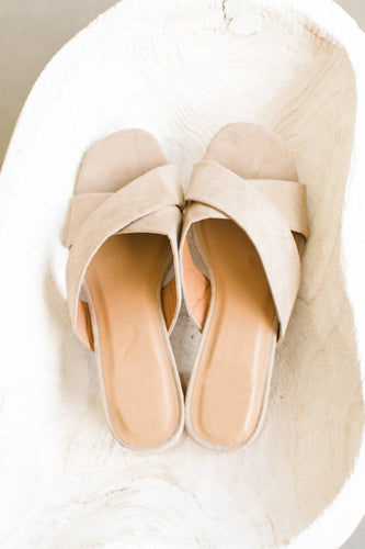 Criss-Cross Suede Slip On Mule - Nude