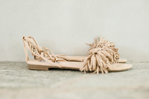 Ankle Tie Flat Fringed Sandal