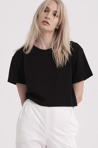 Graphite Short Sleeve Round Neck Crop Tee - Black