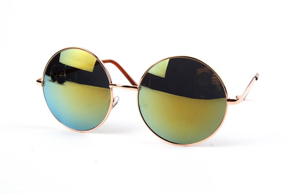 Oversized Round Metal  Sunglasses - Gold Green Mirror