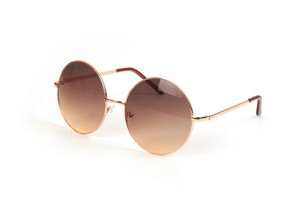 Oversized Round Metal  Sunglasses - Gold Gradient