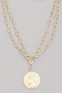 Oversized Coin Layered Chain Link Pendant Necklace - Gold