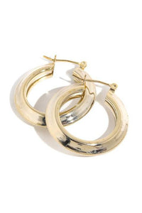 Walsh Metallic Latch Hoop Earrings Gold