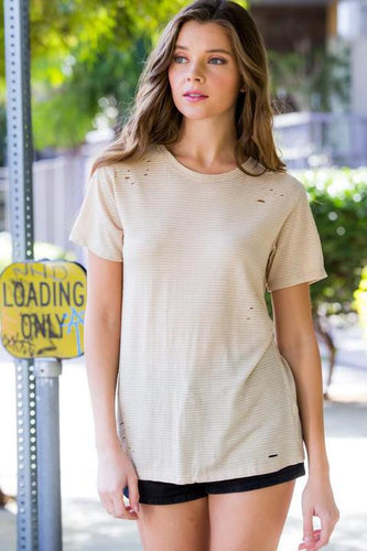 Topaz Distressed Burnout Tee - Beige Stripe