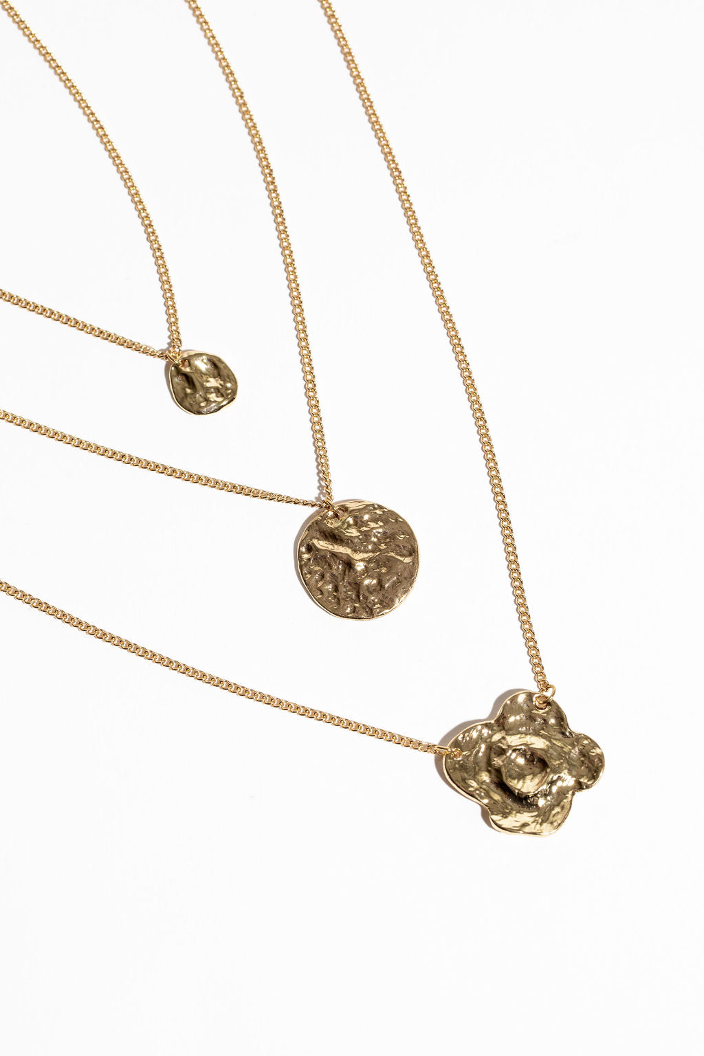 Bisous Layered Round Pendant Necklace - Gold