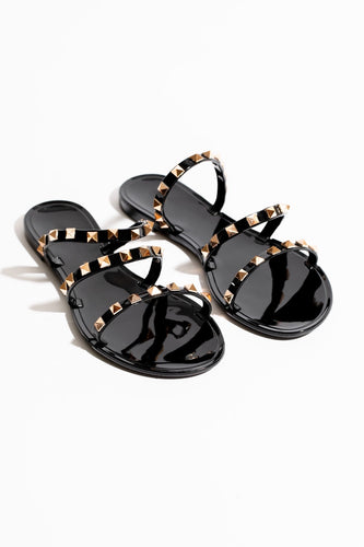 Day Trip Three Strap Studded Slide Sandal - Black