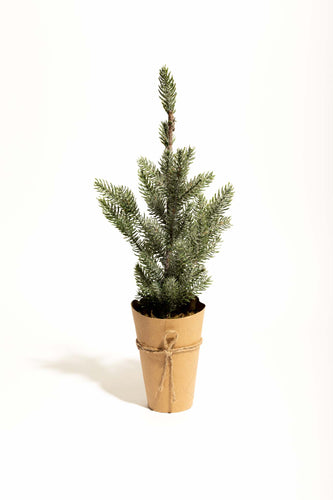 Saint Nick Faux Fir Tree w/ Wrapped Paper Pot