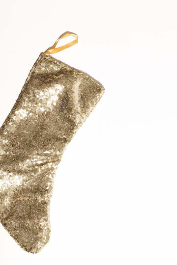 Gleam Sequin Christmas Stocking - Gold