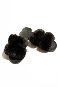 Camilla Fur Slide - Black